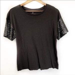 American Eagle charcoal t-shirt sequin sleeves S